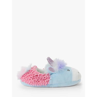 John Lewis & Partners Children's Unicorn Noodle Slippers, Blue
