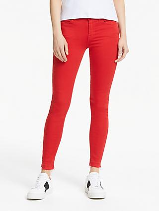 7 For All Mankind The Skinny Slim Illusion Unrolled Cropped Jeans, Red