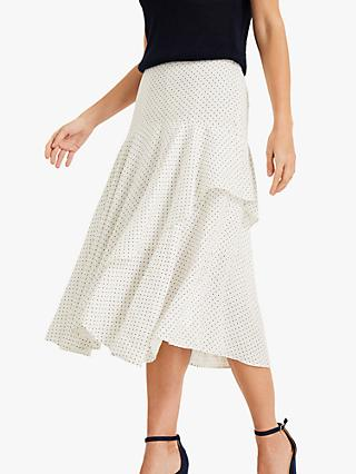 Phase Eight Rhiannon Linen Polka Dot Skirt, Ivory