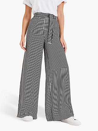 Phase Eight Arizona Wide Leg Trousers, Black/White