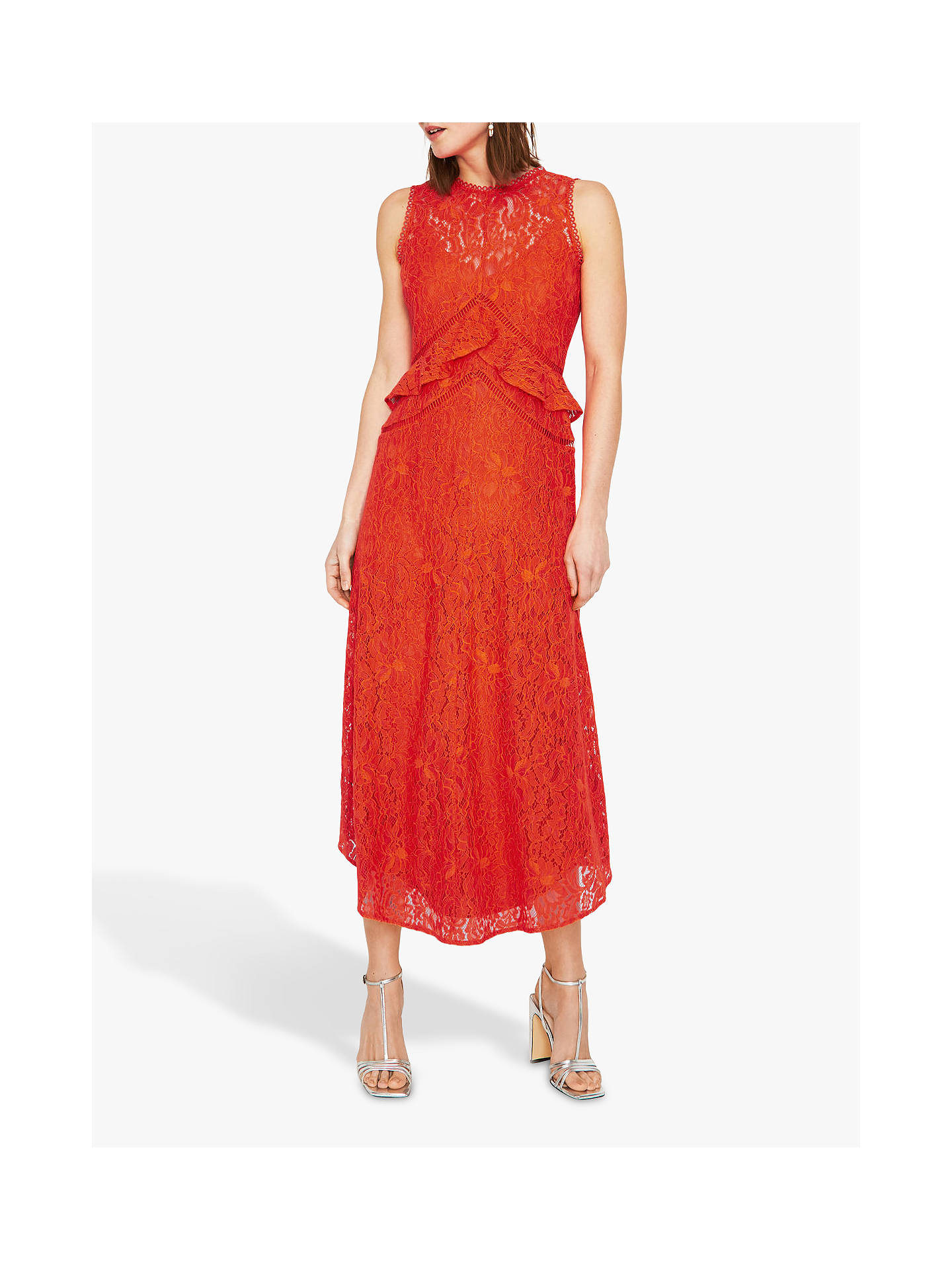 d686cdefbd206 Warehouse Frill Lace Midi Dress, Coral