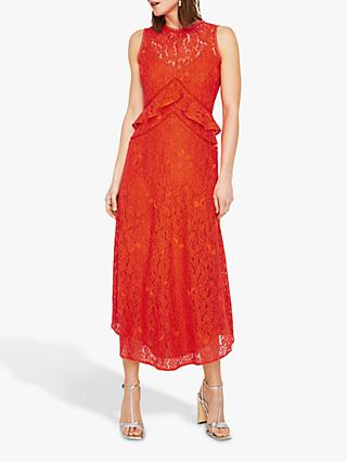 Warehouse Frill Lace Midi Dress, Coral