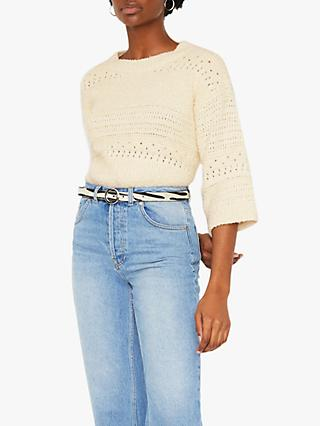 Warehouse Textured Boxy Jumper, White
