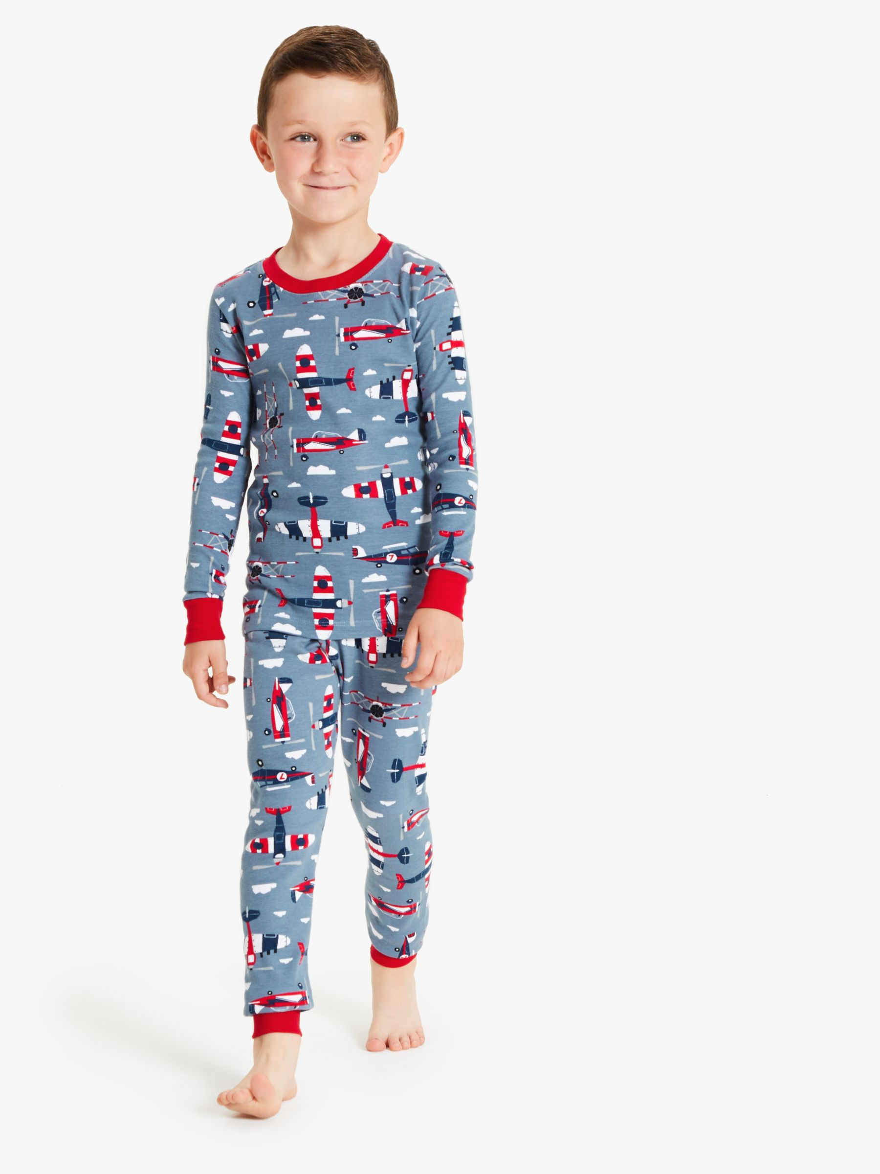 Hatley Hatley Boys' Paper Planes Print Pyjamas, Blue