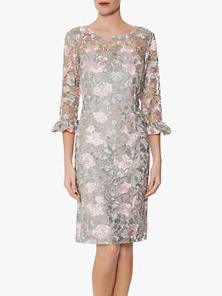 Gina Bacconi Darlene Floral Embroidery Dress, Grey/Pink