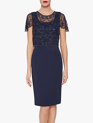 Gina Bacconi Irma Beaded Overlay Dress