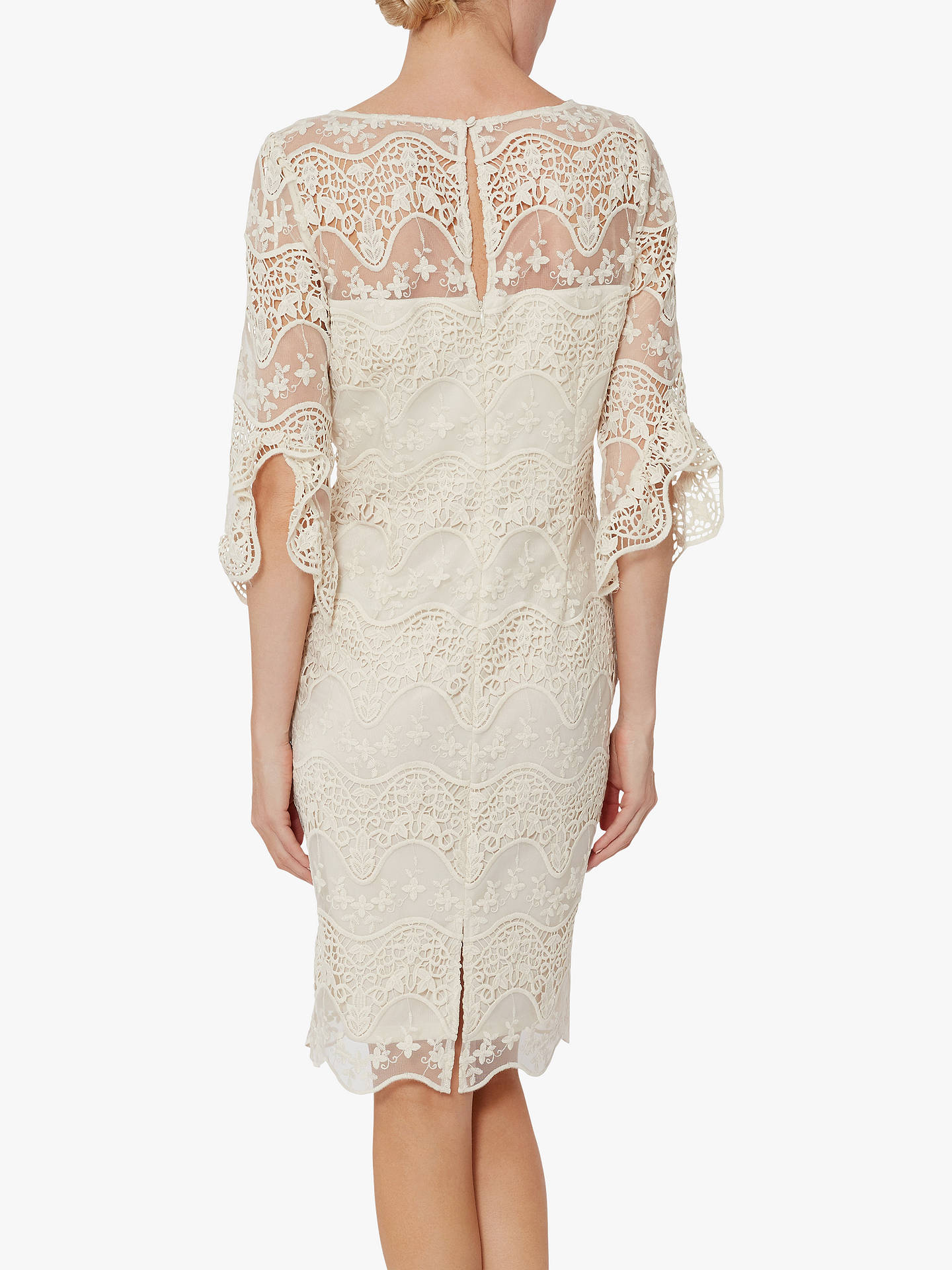 Buy Gina Bacconi Roxani Wavy Embroidered Dress, Butter Cream, 20 Online at johnlewis.com