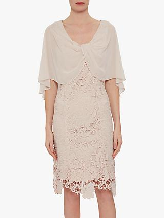 Gina Bacconi Adora Lace & Chiffon Dress, Antique Rose