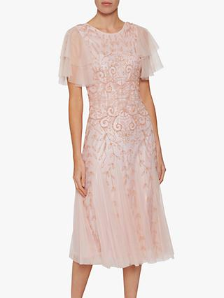 Gina Bacconi Keena Beaded Dress, Pink