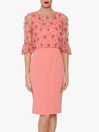 Gina Bacconi Bayley Embroidered Overtop Dress, Dahlia