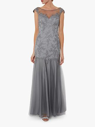 Gina Bacconi Malina Embroidered Maxi Dress, Light Grey