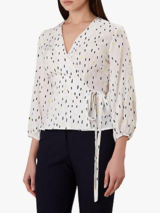 Hobbs Lucinda Wrap Top, Ivory/Multi
