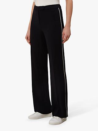 Hobbs Martha Wide Leg Trousers, Navy/Ivory