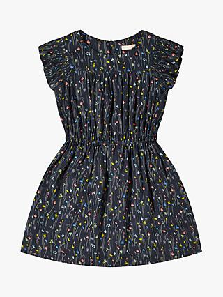 Jigsaw Girls' Meadow Shirred Dress, Navy