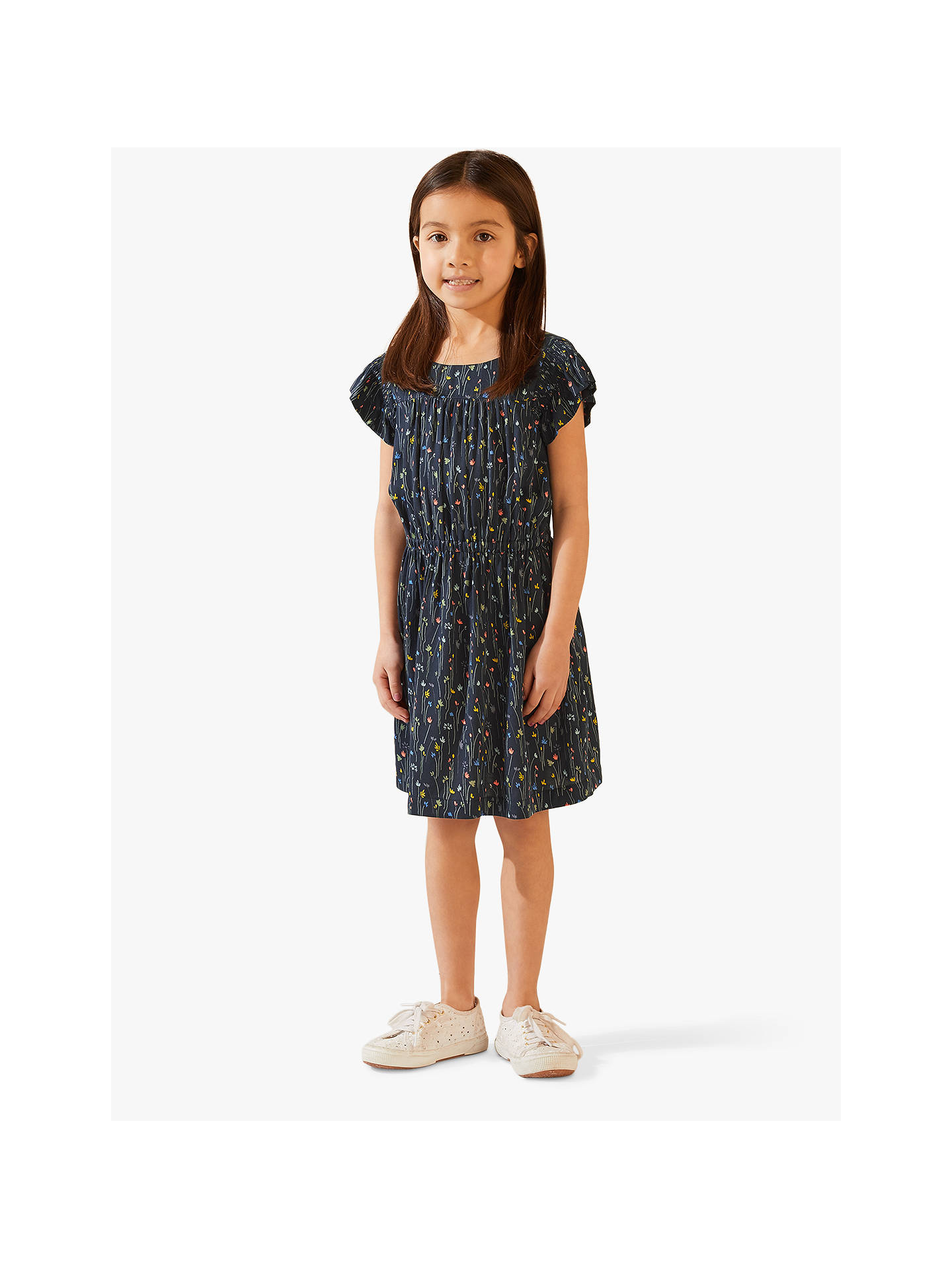c11111ad1f8aa Jigsaw Girls' Meadow Shirred Dress, Navy at John Lewis & Partners