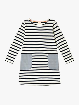 Jigsaw Girls' Breton Stripe Pocket Dress, Ivory