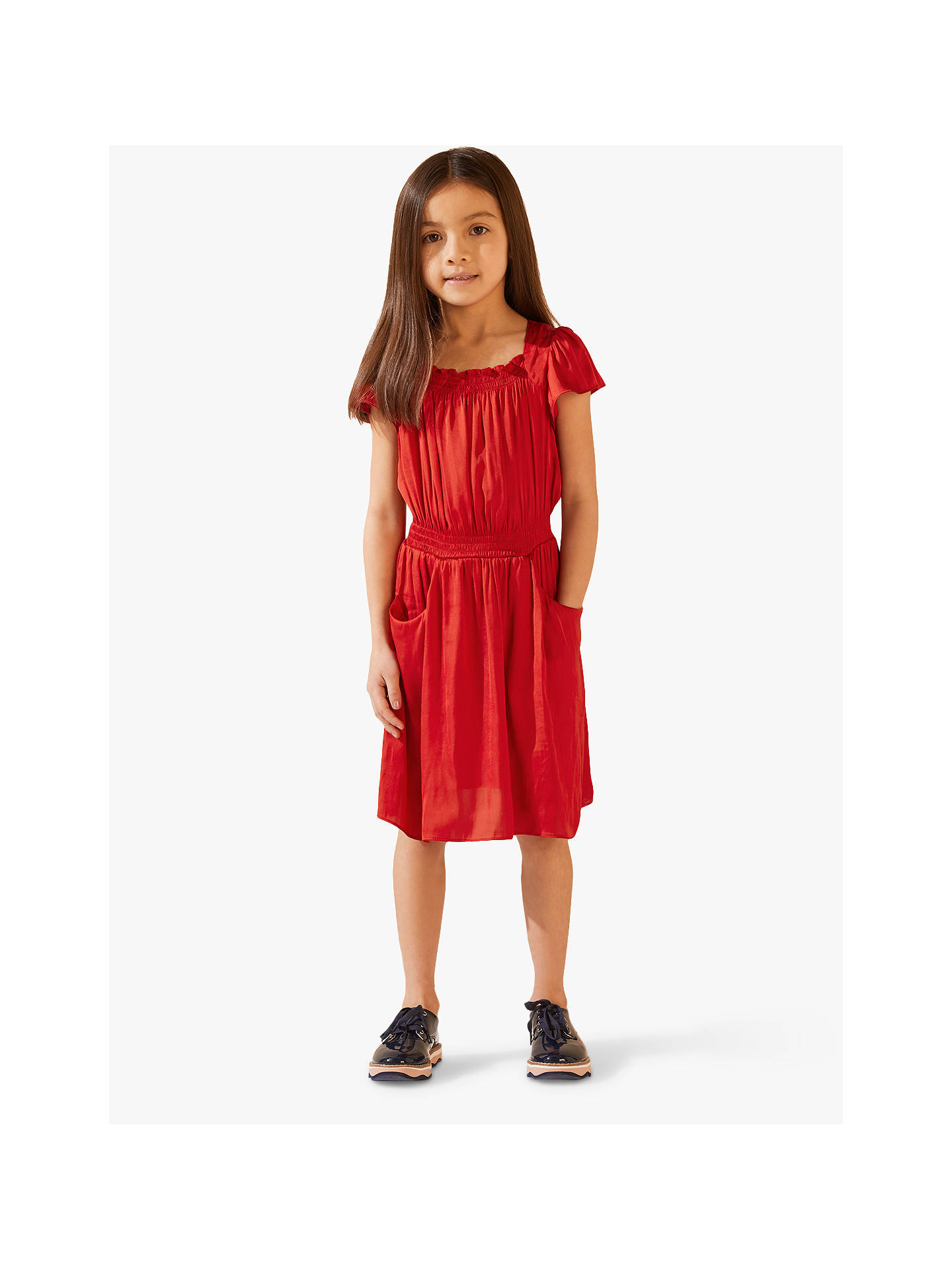 c4f4182e4708e Jigsaw Girls' Silky Shirred Dress, Red at John Lewis & Partners