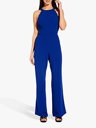 Adrianna Papell Scalloped Jumpsuit, Egyptian Blue