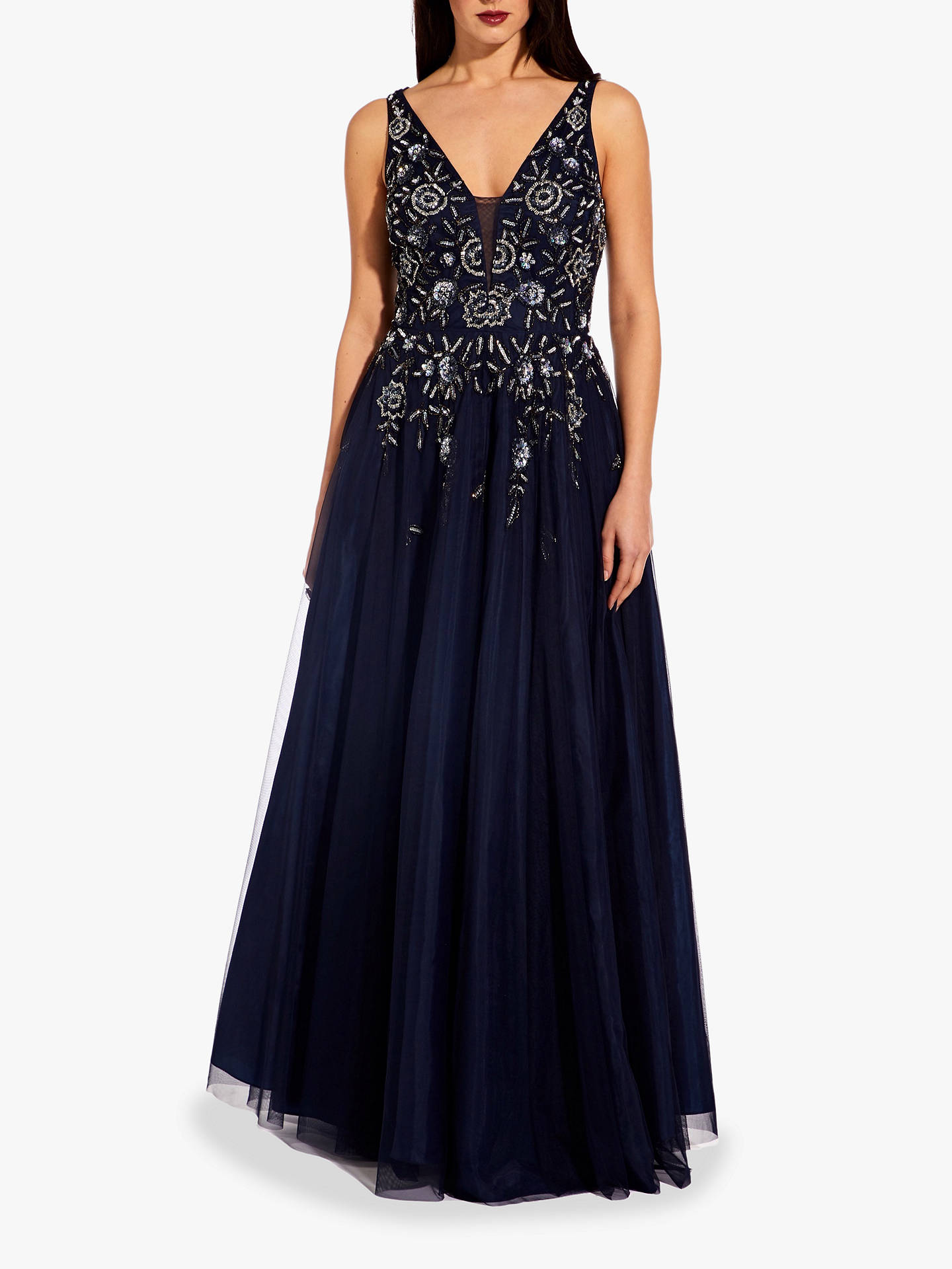 Buy Adrianna Papell Beaded Mesh Maxi Dress, Navy, 6 Online at johnlewis.com
