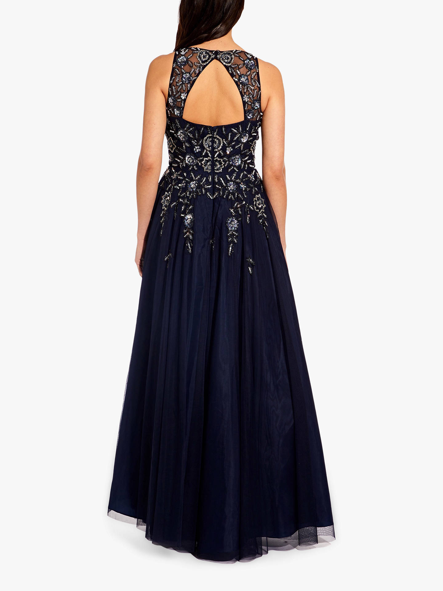 63ccb88298 ... Buy Adrianna Papell Beaded Mesh Maxi Dress, Navy, 6 Online at  johnlewis.com ...