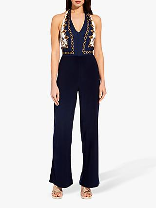 Adrianna Papell Scarf Print Jumpsuit, Navy/Multi