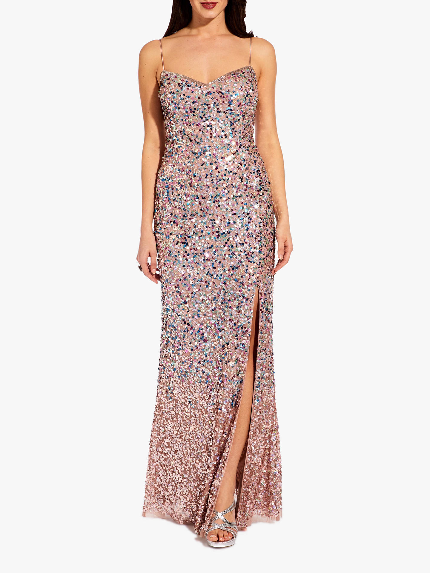 534d8faf4cb98 Buy Adrianna Papell Beaded Sequin Mesh Maxi Dress, Rose Gold, 12 Online at  johnlewis ...