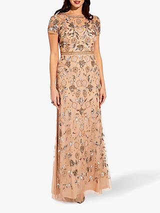 Adrianna Papell Illusion Bead Gown, Champagne