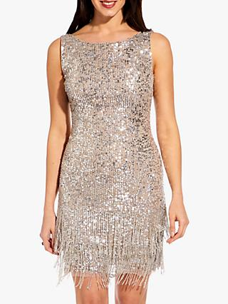 Adrianna Papell Beaded Short Dress, Silver
