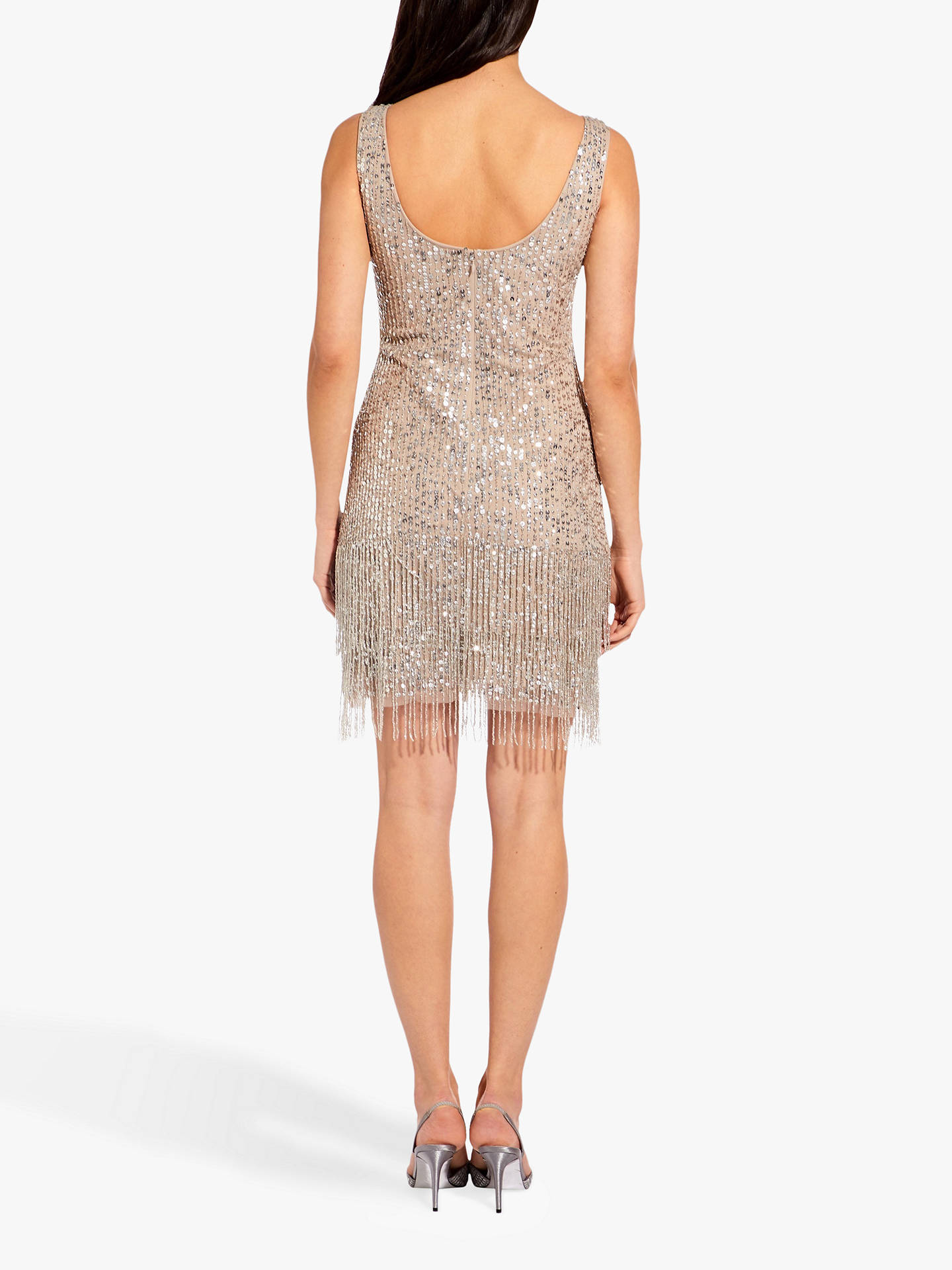 Buy Adrianna Papell Beaded Short Dress, Silver, 6 Online at johnlewis.com