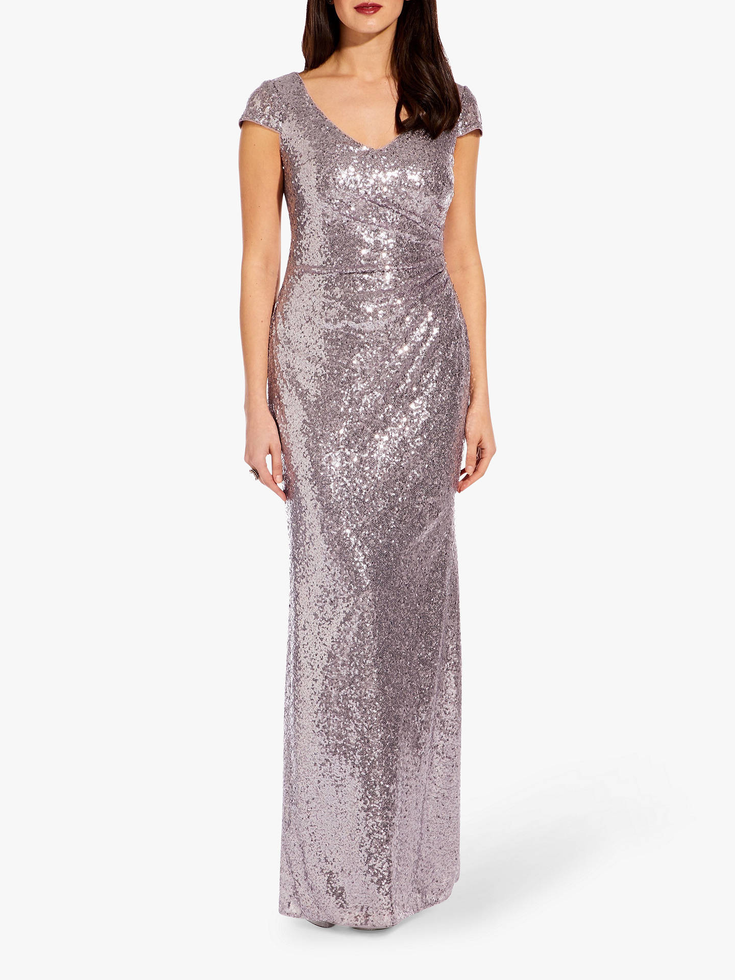 f40fd481 Buy Adrianna Papell Plus Cap Sleeve Sequin Maxi Dress, Lilac Grey, 20  Online at ...