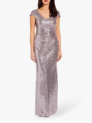 Adrianna Papell Plus Cap Sleeve Sequin Maxi Dress, Lilac Grey