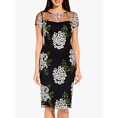 Adrianna Papell Hydrangea Dress, Black/Pink Multi