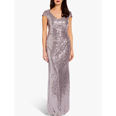 Adrianna Papell Cap Sleeve Sequin Dress, Lilac Grey