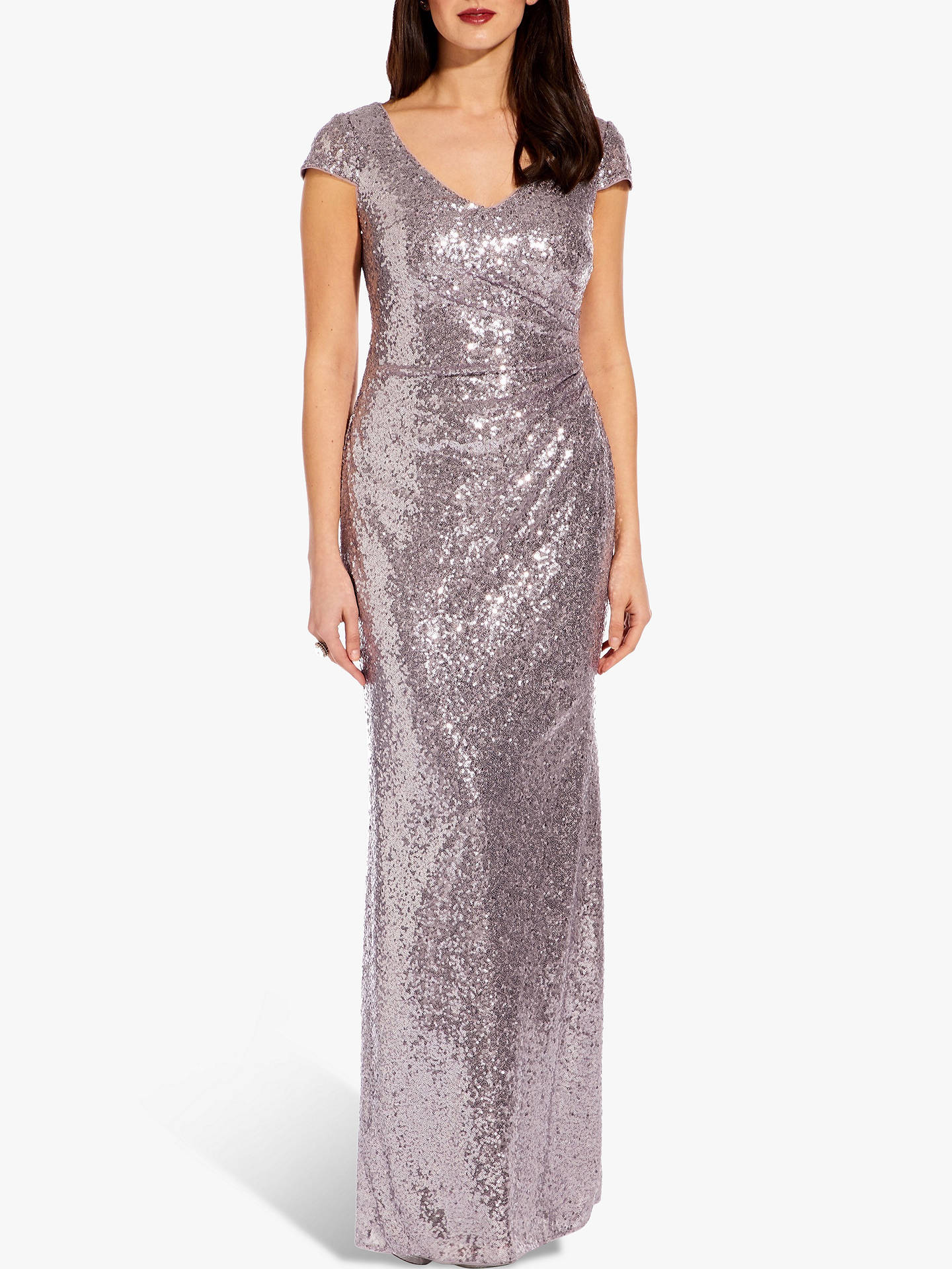Buy Adrianna Papell Cap Sleeve Sequin Dress, Lilac Grey, 8 Online at johnlewis.