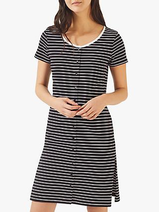 00c6747c0958a Jigsaw Button Through Breton Stripe Cotton Dress
