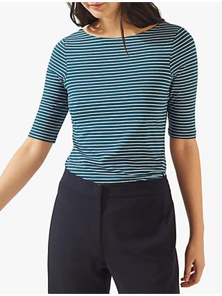 Jigsaw Cotton Striped Scoop Back Ballet Top, Petrol