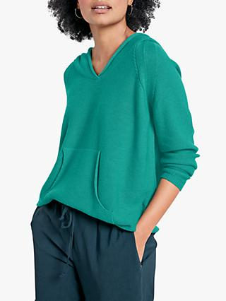 hush Knitted Cotton Ribbed V-Neck Hoodie, Green Marl