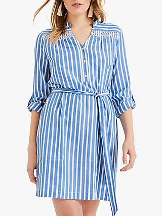 Phase Eight Philomena Stripe Cotton V-Neck Shirt Dress, Blue/Ivory
