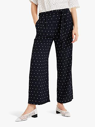 Phase Eight Sasha Spot Culottes, Navy/Ivory