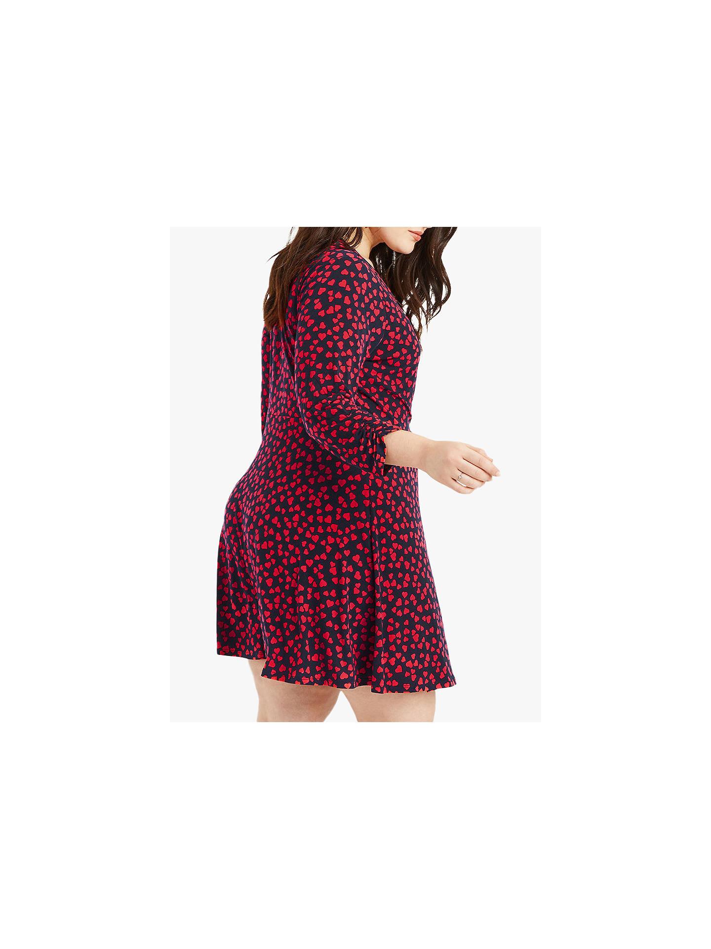 81244dd05286 ... Buy Oasis Curve Heart Print Twist Dress, Multi/Blue, XL Online at  johnlewis ...