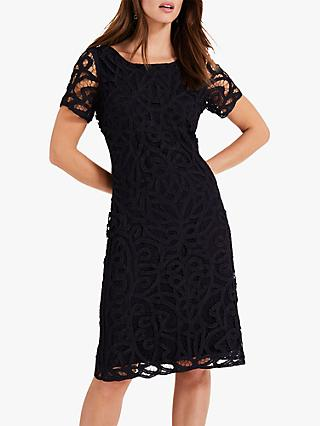 Phase Eight Johanne Lace Overlay Dress, Navy