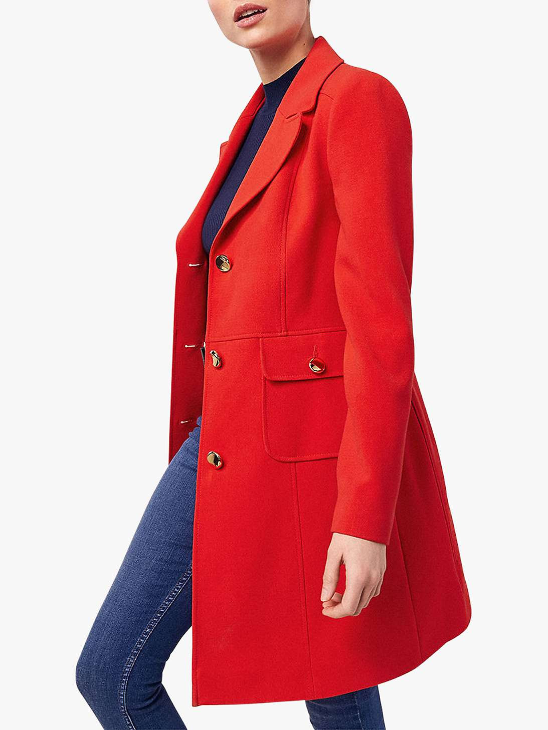 Oasis Double Crepe Coat, Mid Red by John Lewis