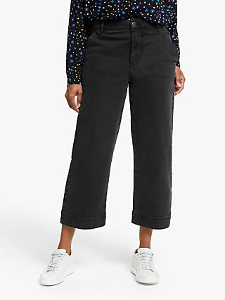 Collection WEEKEND by John Lewis Wide Leg Twill Trousers, Black