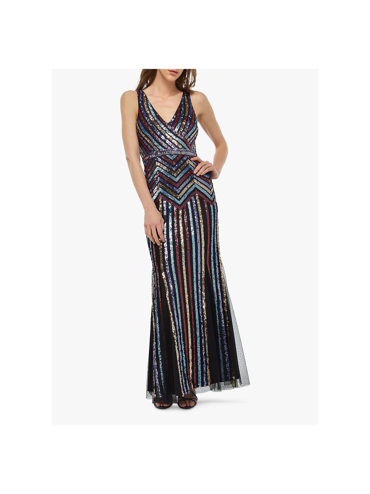 5f2cf1e68102c Monsoon Whitney Sequin Stripe Dress, Black at John Lewis & Partners