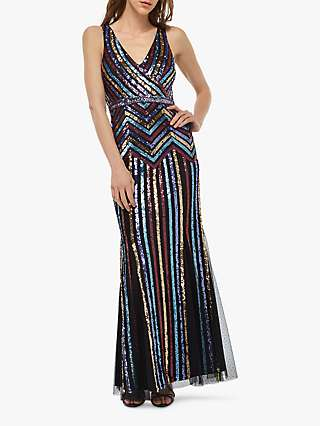 Monsoon Whitney Sequin Stripe Dress, Black