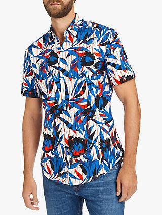 e7d75746 BOSS Ronn Abstract Stripe Slim Fit Cotton Shirt, Multi