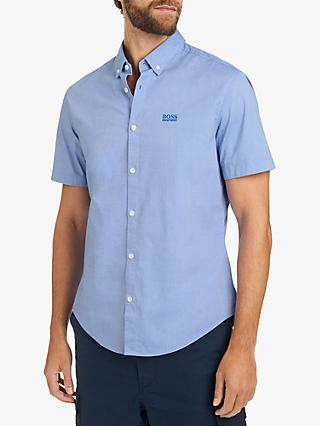 8d18423a5 BOSS Short Sleeve Biadia Oxford Chambray Shirt, Blue