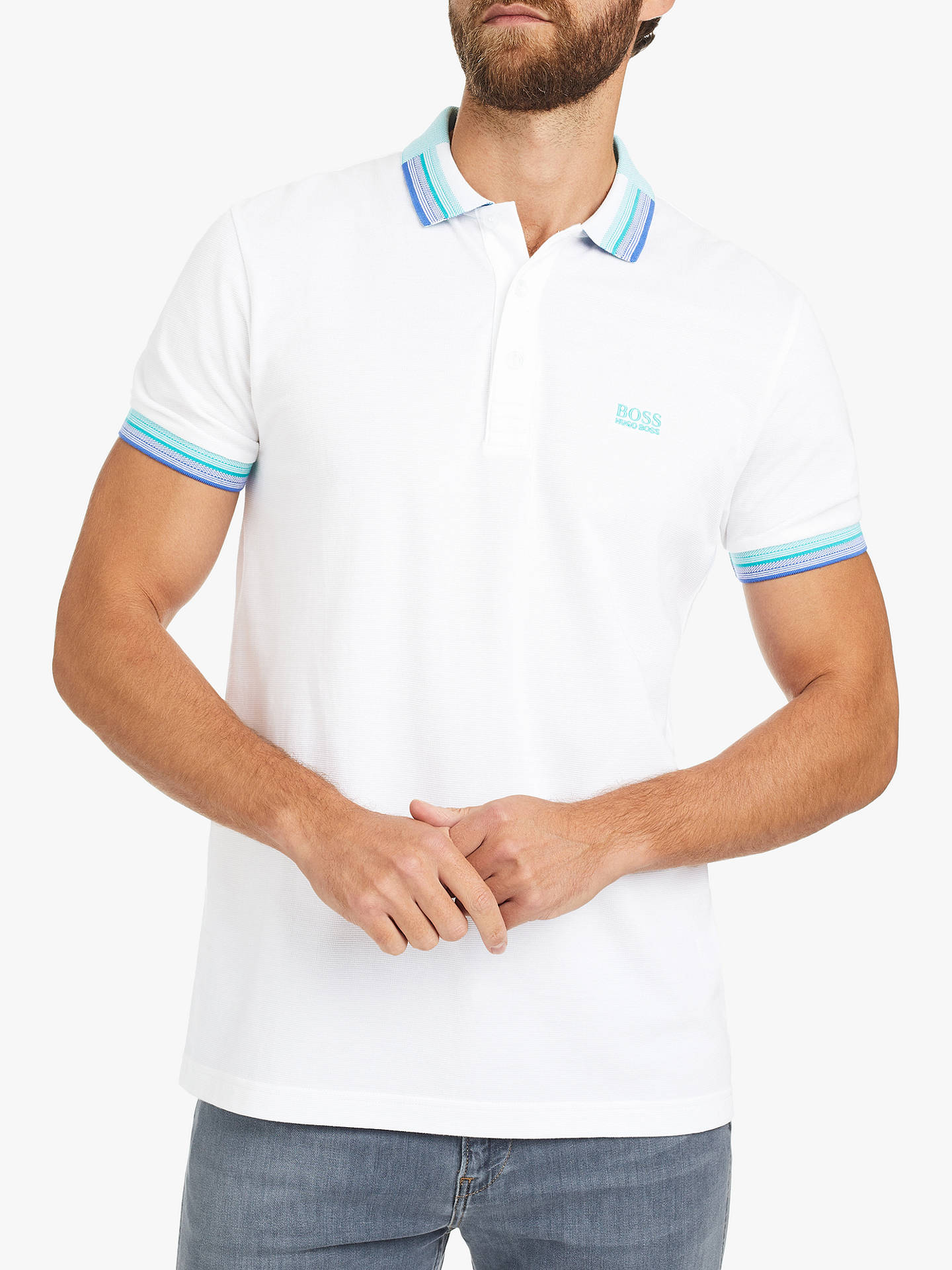 5d3aaadde BOSS Paddy Cotton Polo Shirt, White at John Lewis & Partners