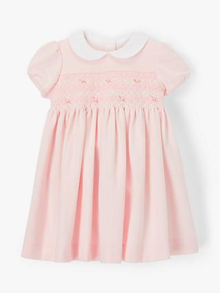 John Lewis & Partners Heirloom Collection Baby Smock Dress, Pink