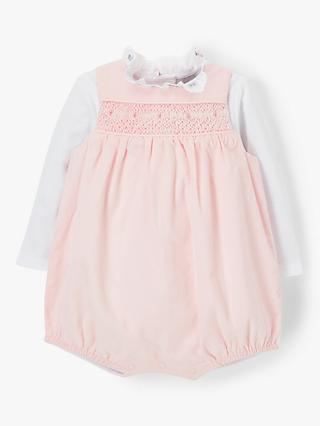 John Lewis & Partners Heirloom Collection Baby Cord Romper, Pink